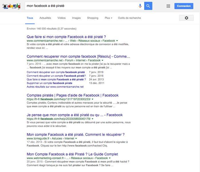 Piratage Facebook : Mon compte Facebook a été piraté : résultats dans Google