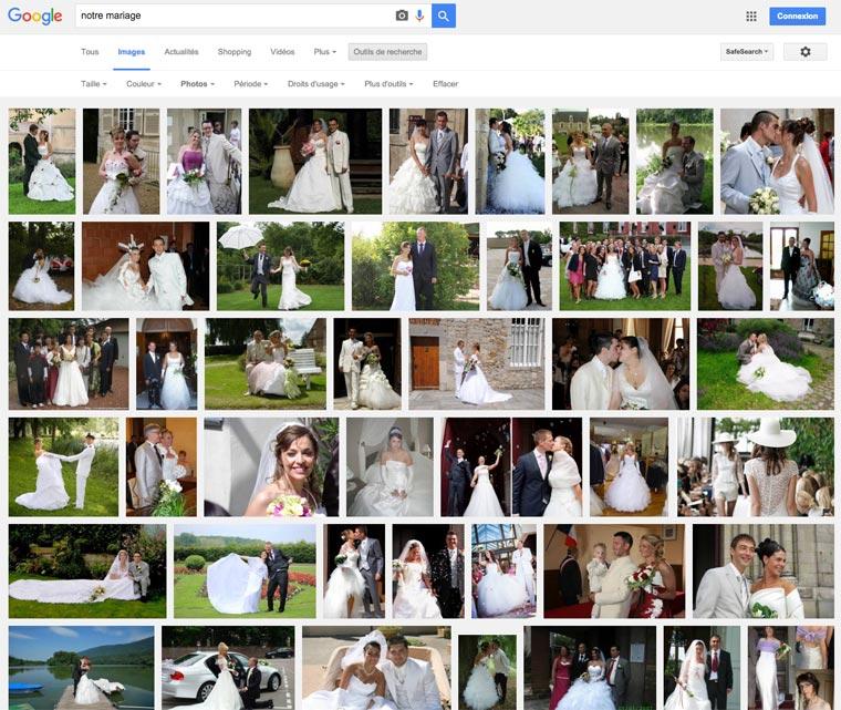 Des centaines de milliers de photos de mariage dans Google images, un vrai désastre pour la vie privée des familles