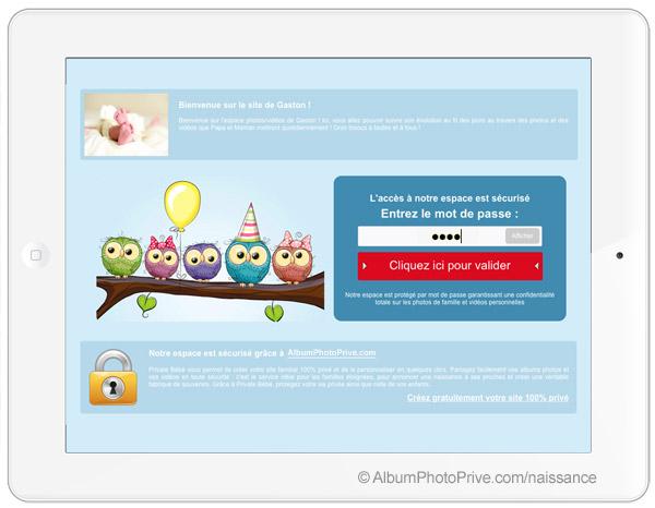 La page d'accueil où les invités doivent entrer leur mot de passe pour se connecter à votre espace privé