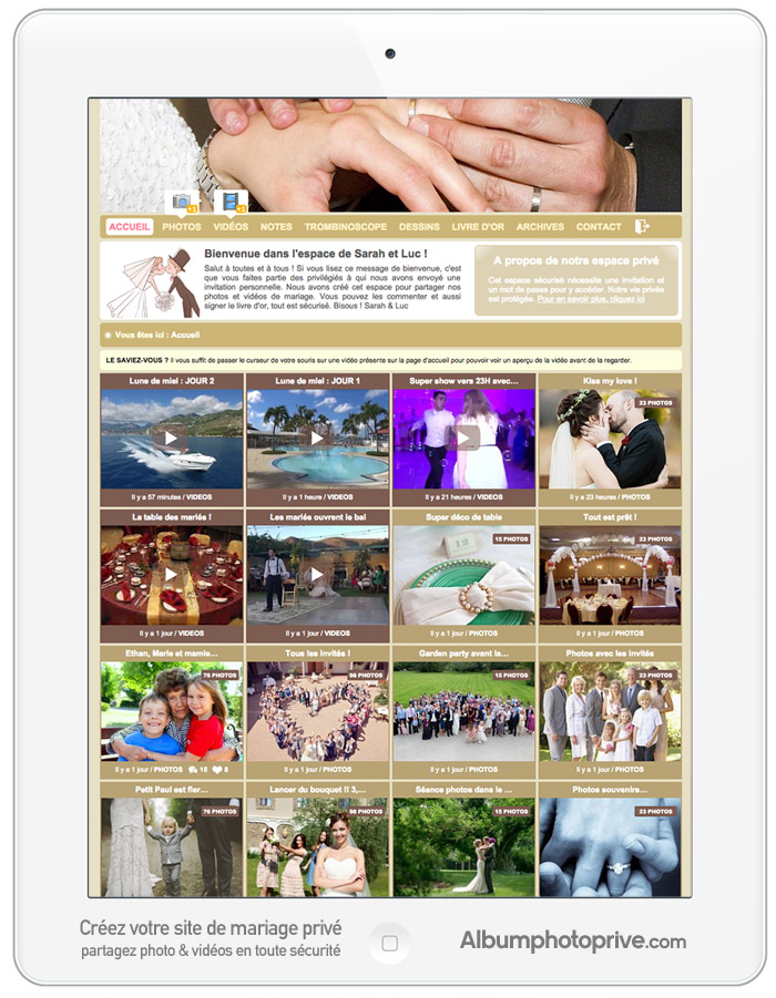 Blog mariage privé pour partager ses photos et vidéos de mariage en ligne, en toute sécurité avec ses proches