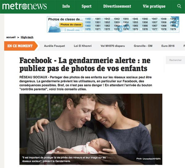 Facebook - La gendarmerie alerte : ne publiez pas de photos de vos enfants