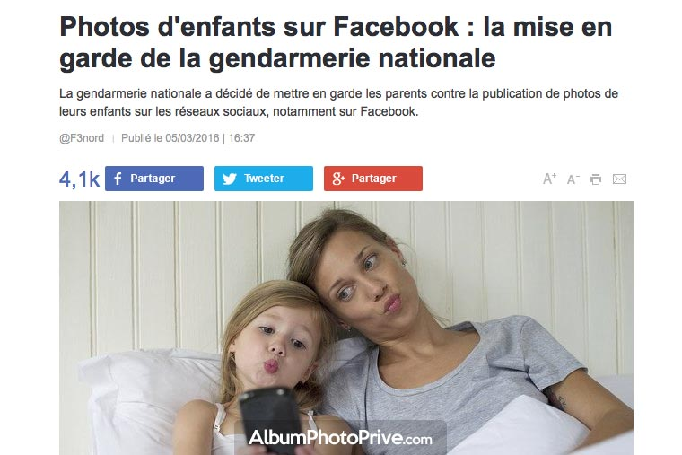 Photos d'enfants sur Facebook : la mise en garde de la gendarmerie nationale