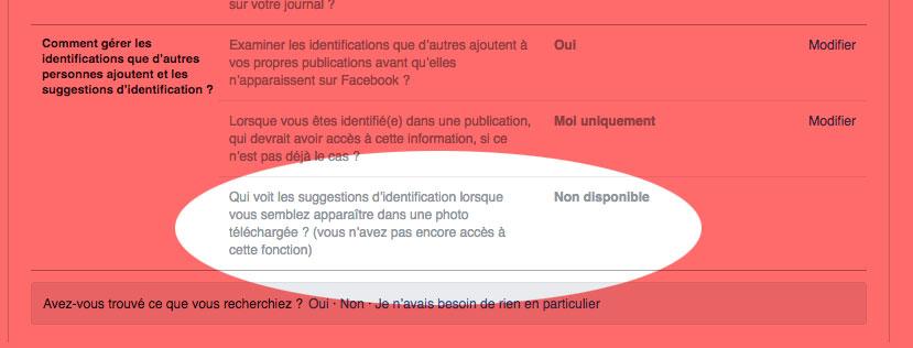 """Reconnaissance faciale : l'option permettant l'identification que d'autres personnes ajoutent sur des photos est pour le moment """"non disponible""""."""