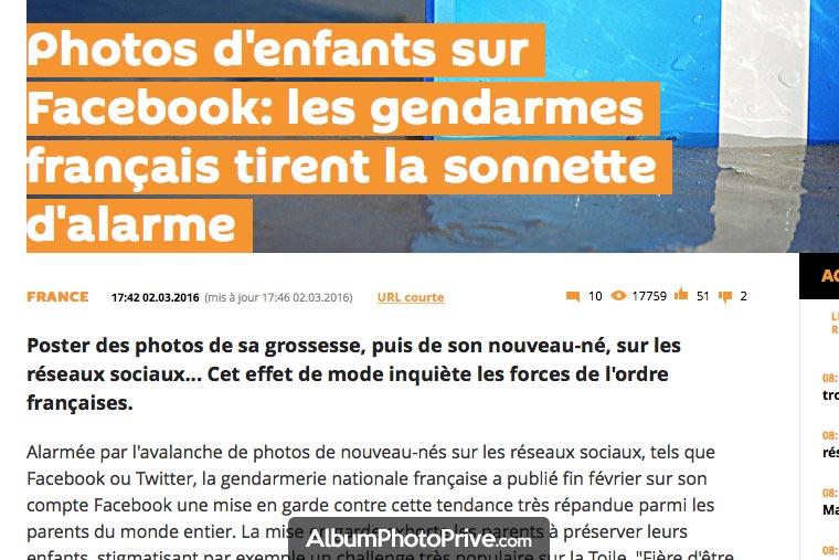 Poster des photos de sa famille sur Facebook est risqué selon la gendarmerie