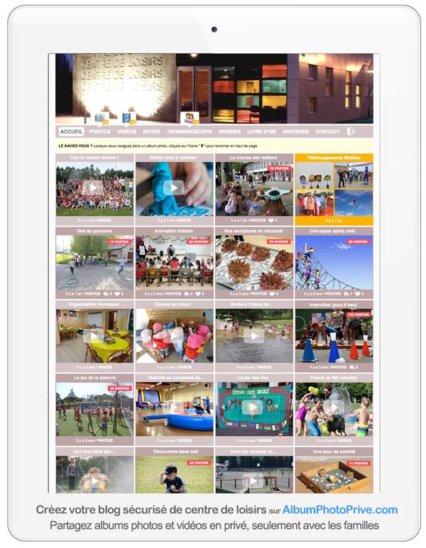 Espace périscolaire en ligne avec partage photos et vidéos sécurisé