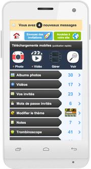 Zone de gestion de votre espace privé sur téléphone mobile