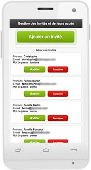 Gérez une liste d'invités avec prénom, nom de famille et mot de passe