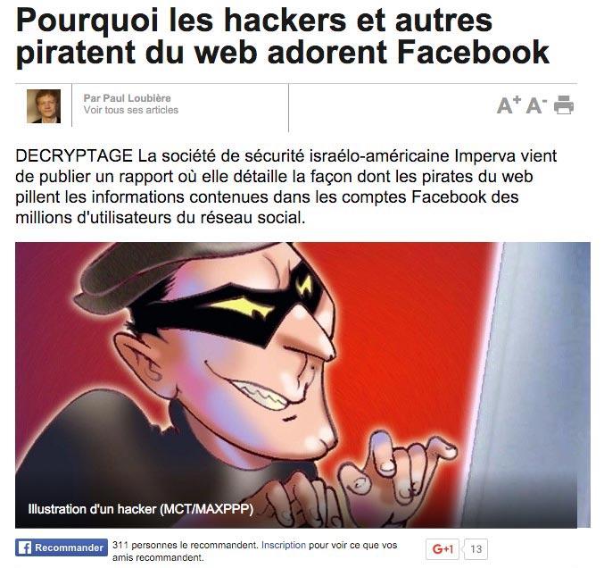 La société de sécurité israélo-américaine Imperva vient de publier un rapport où elle détaille la façon dont les pirates du web pillent les informations contenues dans les comptes Facebook des millions d'utilisateurs du réseau social.
